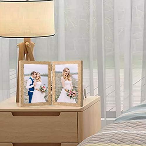 Holz Bilderrahmen Doppel Klappbar 10x15cm Bilderrahmen Desktop Fotorahmen Mit Glasfront Amazon De