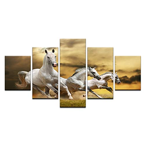 40x60 40x80 40x100cm No Frame Vintage Home Decor Animal Art 5 Panel White Horses Sunset Landscape Print Canvas Painting Poster Wall Picture Frame Living Room