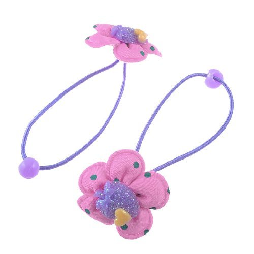 eDealMax 2 pezzo rotondo Bead Decor fascia elastica dei capelli del supporto del Ponytail, colore rosa di bambino, 0,02 Pound