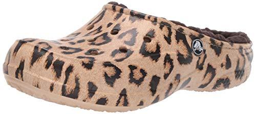 Crocs Women's Freesail Printed Leopard Lined Clog Shoe, Leopard/Espresso, 11 M US