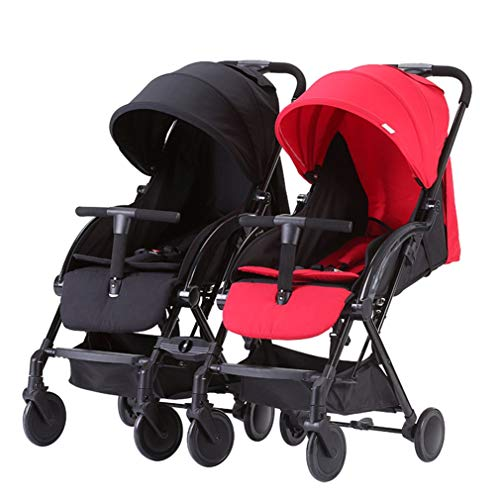 Double Stroller, Side by Side Tandem Umbrella Stroller, Infant Pram, Quick Fold/Suspension Shock Absorbing/Safety Seats/Easy to Maneuver/Detachable (Color : Black+Red)