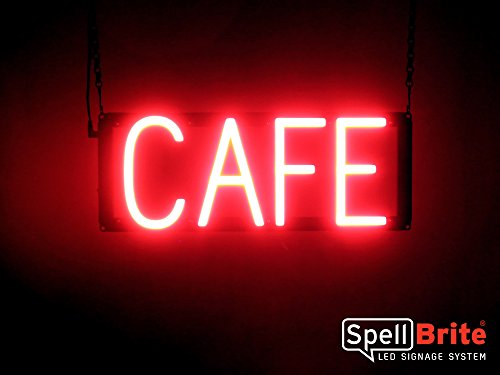(SpellBrite Ultra-Bright CAFÉ Sign Neon-LED Sign (Neon look, LED performance))