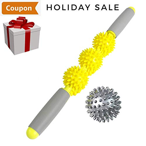 Muscle Roller Massage Stick Deep Tissue Massage by Life Balance - Trigger Point Body Self Massage Roller Stick, Cellulite Remover, Plantar Fasciitis Ball, Muscle Recovery, Myofascial Release Tool