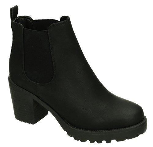 King Of Shoes Damen Stiefeletten Ankle Boots Plateau Stiefel Schuhe 74 Schwarz 059