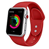 Yimzen Soft Silicone Sport iWatch Band Strap for Apple Watch Series 3 2 1 Sport & Edition 38mm S/M Red