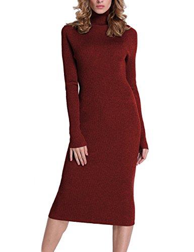 Rocorose Women's Turtleneck Ribbed Elbow Long Sleeve Knit Sweater Dress Red XL
