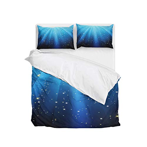 Dream Bay Blue 3 Pieces Comforter Set Galaxy Bedding Set King Size with 5 Matching Pillows