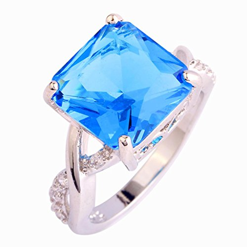 lingmei 12mm12mm Princess Cut Cz Created Blue & White Stone Women's Ring US Size 7