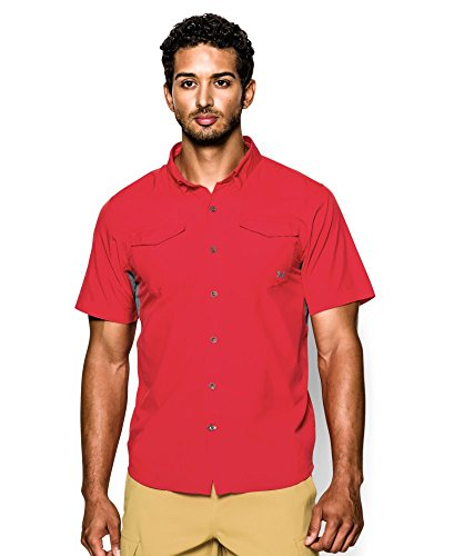 Under Armour Men's UA Iso-Chill Flats Guide Short Sleeve Shirt Large Pomegranate