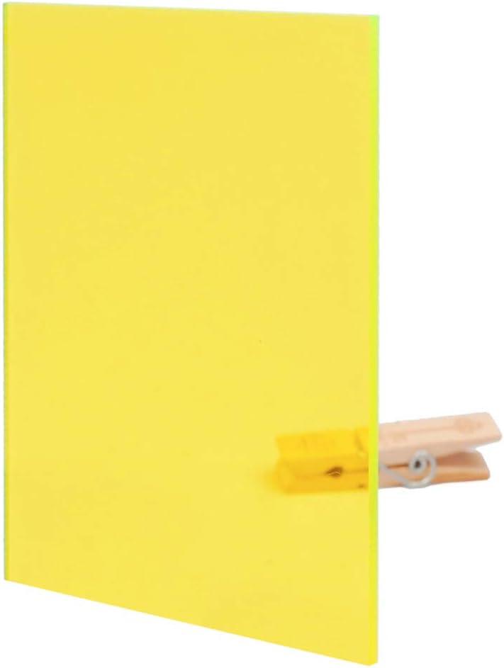 Dumadf Hoja Amarillo-Acrílico plexiglás Transparente plástico moldeable Junta Tinted Bricolaje Panel de plástico PMMA, Espesor de 5 mm,A4 Size 210x297mm