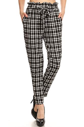 ShoSho Womens Solid Color Loose Fit Semi Harem Pants Casual Bottoms Skinny Self Tie Paper Bag Waist Plaid White/Black Medium