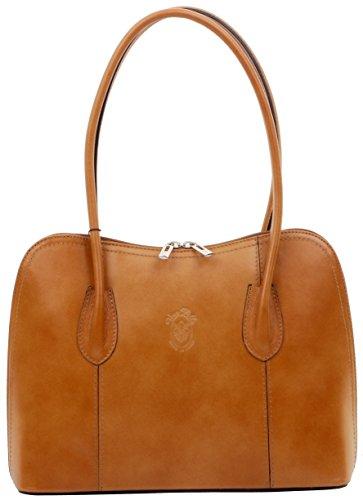 Primo Sacchi Italian Smooth Tan Leather Classic Long Handled Handbag Tote Grab Bag Shoulder Bag