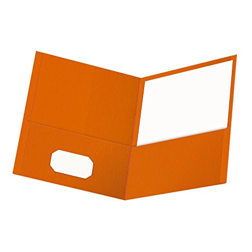 Oxford Twin-Pocket Folders, Textured Paper, Letter Size, Orange, Holds 100 Sheets, Box of 25 ()