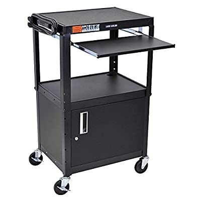"""Luxor   H. Wilson Adjustable Height Av Cart With Cabinet And Pull-Out Tray - 24X18"""" Shelves - Red"""