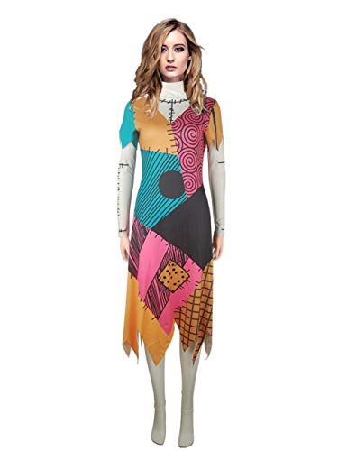 PONGONE Womens Nightmare Before Christmas Dress Halloween Cosplay Sally Costume Dress2XL]()