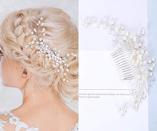Wedding Hair Comb - Bridal Hair Clips Accessories Silver Rhinestones Pearl Vintage Hair Piece for Women