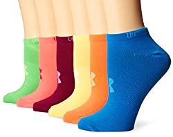 Under Armour Women's Liner No-show Socks (6 Pairs), Brightsassorted Colors, Medium
