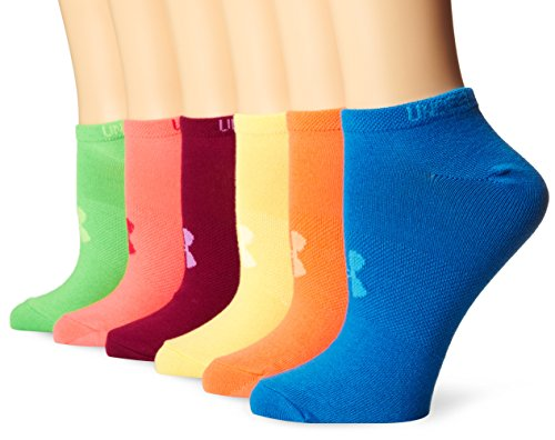 Under Armour Girls Essential No-Show liner socks (6 Pairs), Brights/Assorted Colors, Youth Large