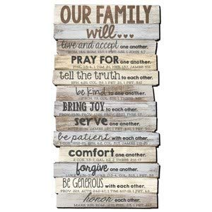 Lighthouse Christian Products Our Family Will Love One Another Rustic Stacked Pallet 15.25 x 29.25 Wood Plaque