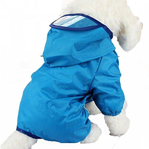 GenialES Chubasquero para Mascota Medianas y Grandes con Capucha Impermeable para Lluvia con Extra Larga Ala para Gatos Perro Azul 26