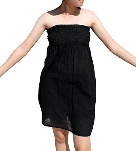 Pixie Smock (Svenine Strapless Short Forest Pixie Smock Top Cropped Boho Dress, Medium, Black)