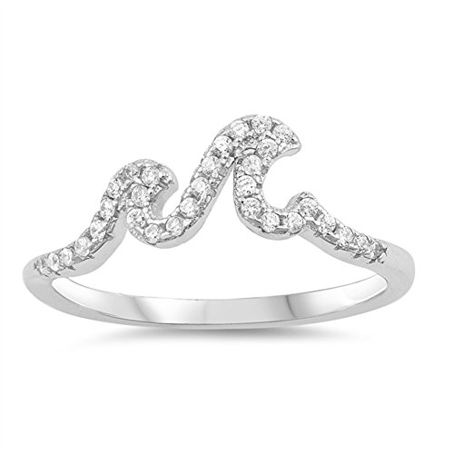 Ocean Wave Cubic Zirconia Ring - CloseoutWarehouse Clear Cubic Zirconia Ocean Waves Designer Ring Sterling Silver Size 8