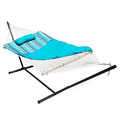Lazy Daze Hammocks 12 Feet Steel Hammock Stand with Cotton Rope Hammock Combo, Quilted Polyester Hammock Pad and Pillow, Blue Ocean Stripe - Fabric Ocean Finish