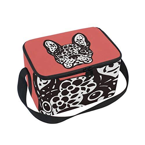 Bouledogue Jour lunch Boîte Bandoulière Tête nique à lunch Cooler pour de Chien mort Sac français pique Sucre mignon à HxSXwH5Iq