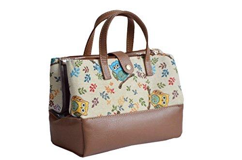 in per sacchetto moda stile alla cosmetici arazzo Borsa lavata Gufo tessuto Coccinelle della qFgdAS