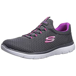 Skechers womens Summits Sneaker, Charcoal/Purple, 8 Wide US