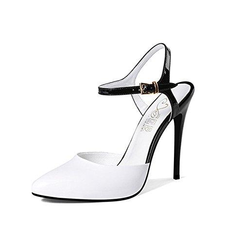 uk3 Tamaño Zapatos Sandalias Alto De Estrecha Color Zhirong Negro Femeninos Punta Verano Blanco Eu35 Blancas Tacón cn34 6dYqq7w