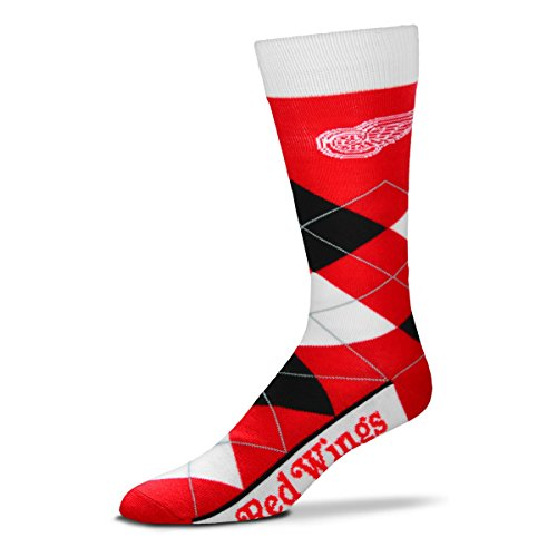 -  For Bare Feet NHL Argyle Lineup Unisex Crew Dress Socks-One Size Fits Most-Detroit Red Wings