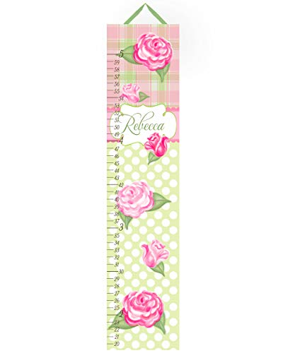 Toad and Lily Canvas GROWTH CHART Shabby Cottage Roses Plaid Pink Green Garden Flowers Girls Bedroom Baby Nursery Art Personalized Growth Chart GC0032 by Toad and Lily
