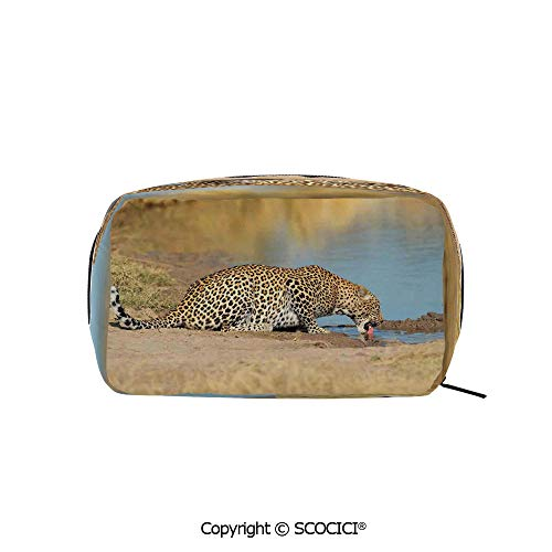 (Rectangle Printed Beauty Cosmetic Bag Pouch Leopard Panther Drinking at Waterhole Safari Wild South African Animal Documentary Print Women fashion Toiletry Travel Bag)