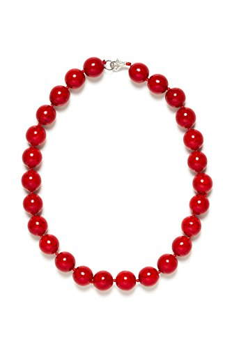 Beaded Necklace Designs (Beaded Riviere Necklace Opaque Faux Stone Beads Women Ladies Fashion Accessories (Red, Large))