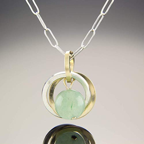 - Light Sage Green Aventurine Gemstone Pendant Necklace With Silver and 14K Gold Fill Circles - 20
