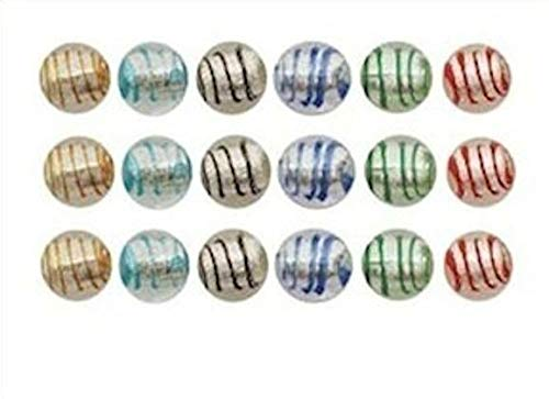 24 Striped Clear Lampwork Glass Silver Foil 12mm Round Bead Mix Crafting Chain Bracelet Necklace Jewelry Accessories Pendants