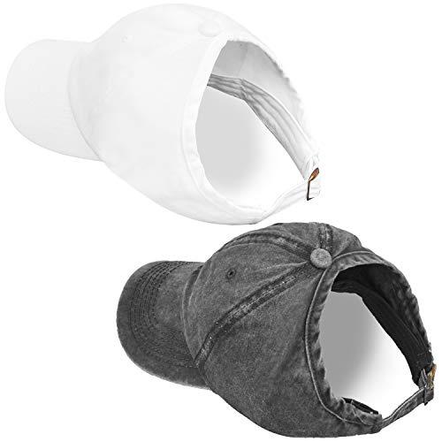 Natural Hair Backless Ponytail Hat for Women, Curly Hair Ponytail Messy Bun Baseball Hat (2 Packs-B-Black&White)