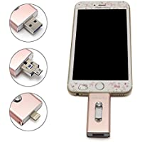 Tipmant High Capacity iPhone USB Flash Drive 64GB i-Flash U-Disk Memory Stick Pen Drive for Computer, iPhone & iPad (Lightning Connector) and Android Cell Phone - Pink