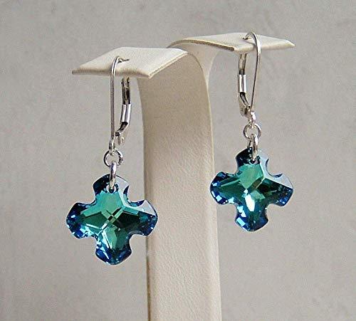Bermuda Blue Greek Cross Crystal Sterling Silver Leverback Earrings Made With Swarovski Gift - Bermuda 14 Crystal Mm
