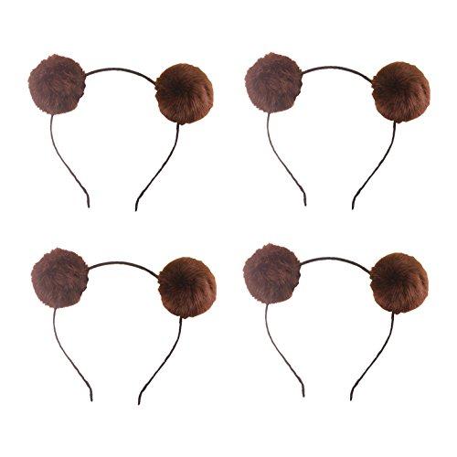 Headband Bear Ears Fluffy Furry Soft Ball Cute Fashion Hoop Hairband Halloween Christmas Party Birthday Headwear Cosplay Costume for Girls Boys Toddlers Kids Adults (C set darkbrown 4pcs)