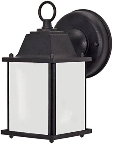 AA Warehousing EL580BL Exterior Outdoor Light Fixture Black Finish with Frosted Glass
