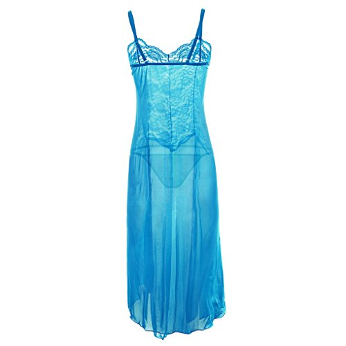 indumento Sexy Chemise con Lungo string G Dress Lingerie Night Donna Acmede blu sottile Lace zqE44B