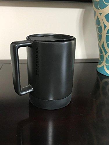 (Starbucks Black Ceramic Desktop Mug Silicone Nonslip Bottom with press-in Lid , 14 Fl)