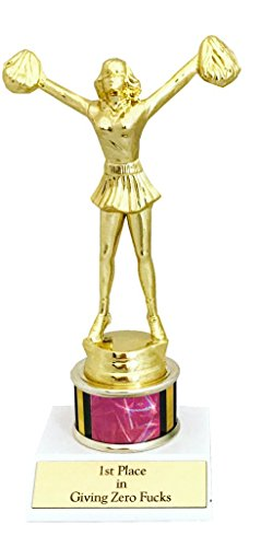 1st Place in Giving Zero Fcks Woman Trophy funny in gold and holographic pink with cheerleader cheerleading statuette