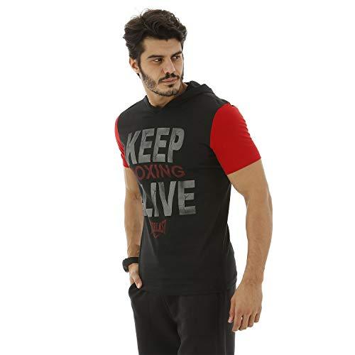 Camiseta Algodão-M-Preto+Vermelho
