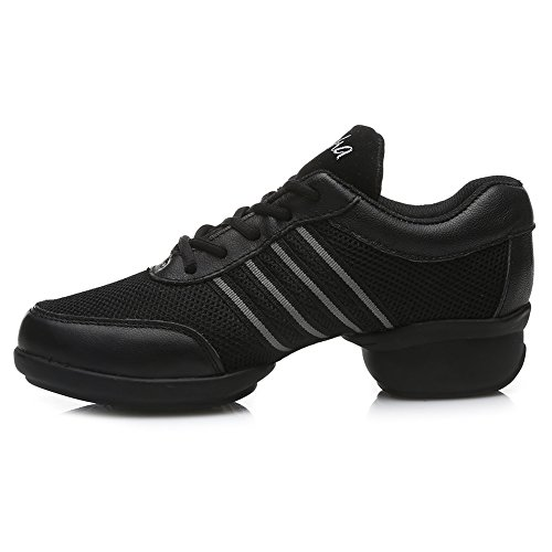 Roymall Men and Womens Boost Dance Sneaker/Modern Jazz Ballroom Performance Dance-Sneakers Sports Shoes,Model T11 Black+gray