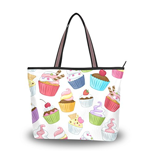 Tote Top Handle Laptop Shoulder Bag Colorful Cupcakes Handbag for Women - 15.7x11.4x3.5in - by Top - Sunglasses Wonderland Sale