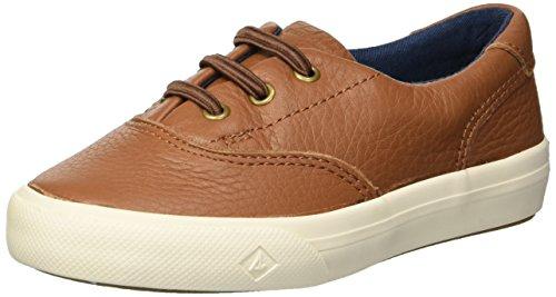 SPERRY Boys' Striper II Jr Leather Boat Shoe, tan, 7.5 Medium US Toddler (Best Sperry Boat Shoes)