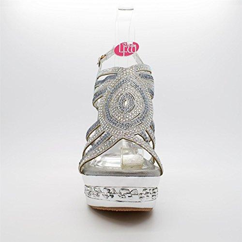 London Footwear Florentina, Women's Heels Sandals Silver